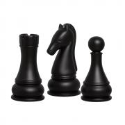 Trio Peças Xadrez Cavalo Torre Peão Cerâmica Preto Fosco