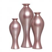 Trio Vaso Decorativo Califórnia Decoração Cerâmica Lilás
