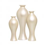 Trio Vaso Decorativo Califórnia Decoração Em Cerâmica Creme