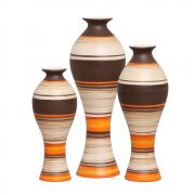 Trio Vaso Decorativo Califórnia Em Cerâmica New Sunset