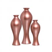 Trio Vaso Decorativo Califórnia Em Cerâmica Rose Gold