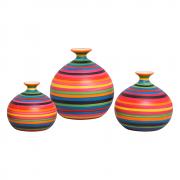 Trio Vaso Decorativo Maia Decoração Em Cerâmica Colors