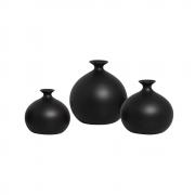 Trio Vasos Decorativos Maia Em Cerâmica Preto Fosco
