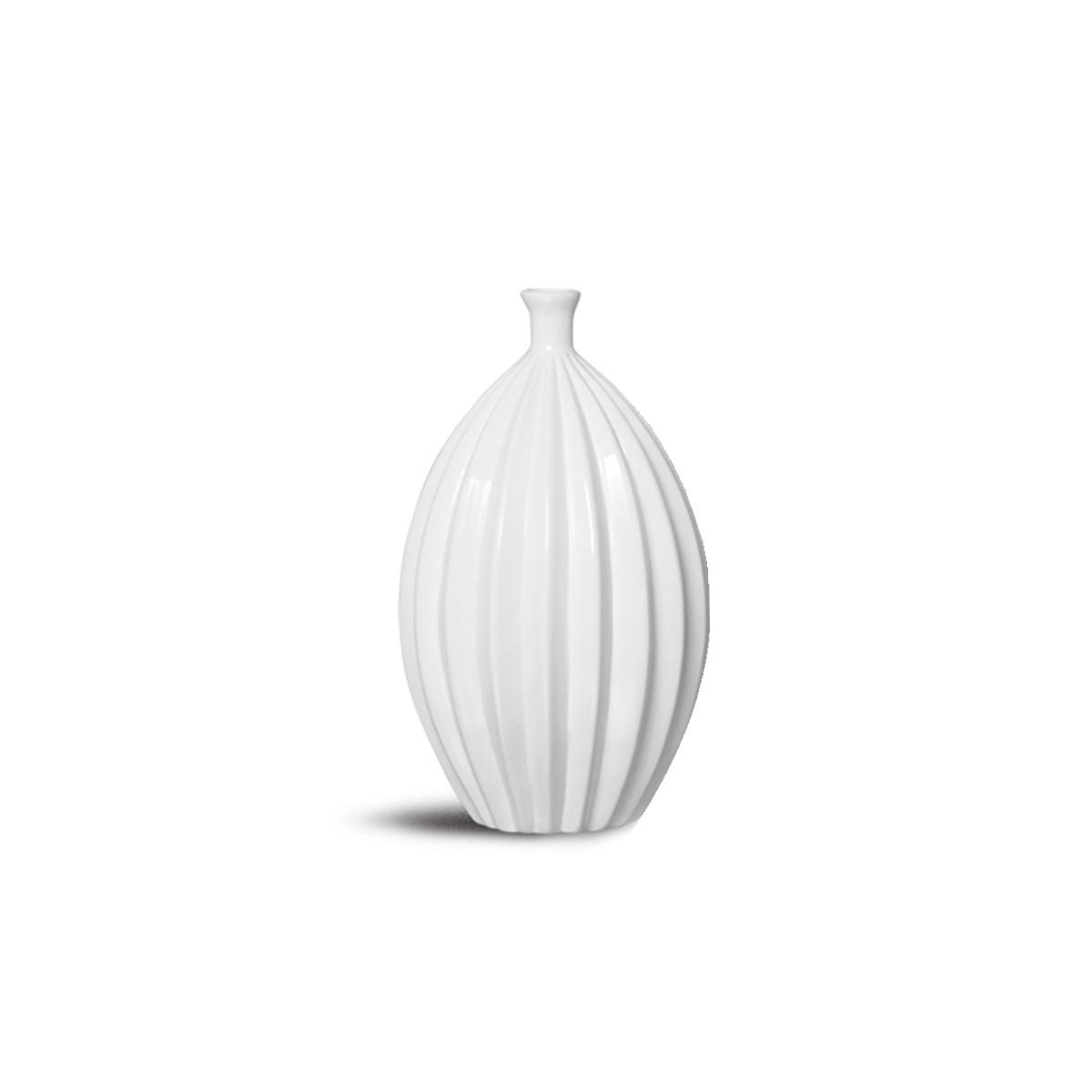 Vaso Viena M Enfeite Mesa Cerâmica Decoração Clássica Branca