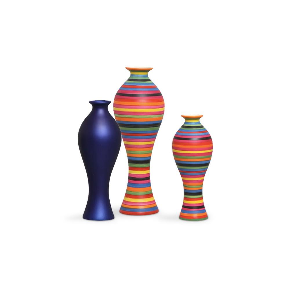 Trio Vasos de Mesa Califórnia Colors e Azul Royal Cerâmica