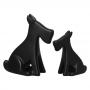 Cachorrinho Escultura Dupla Decoração Cerâmica Preto Fosco