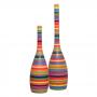 Dupla Decorativa Garrafa Tulipa Decoração Cerâmica Colors