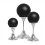 Trio Esferas com Pedestal Alumínio Cerâmica Preto Fosco