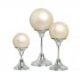 Trio Esferas com Pedestal Alumínio Decoração Cerâmica Creme