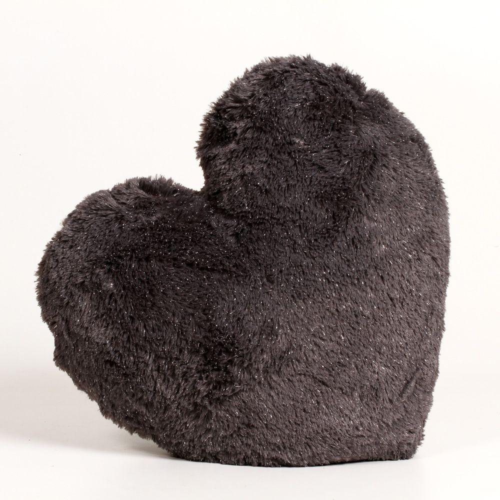 Almofada Coração Macia De Poliester Com Capa Cinza Escuro