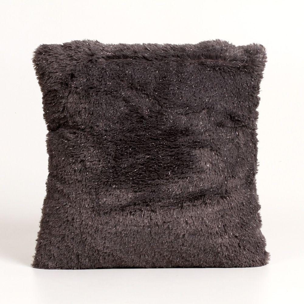 Almofada Quadrada de Poliéster com Capa Cinza Escuro
