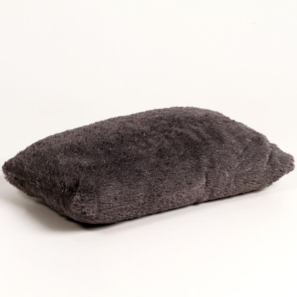 Almofada Retangular de Poliéster com Capa Cinza Escuro