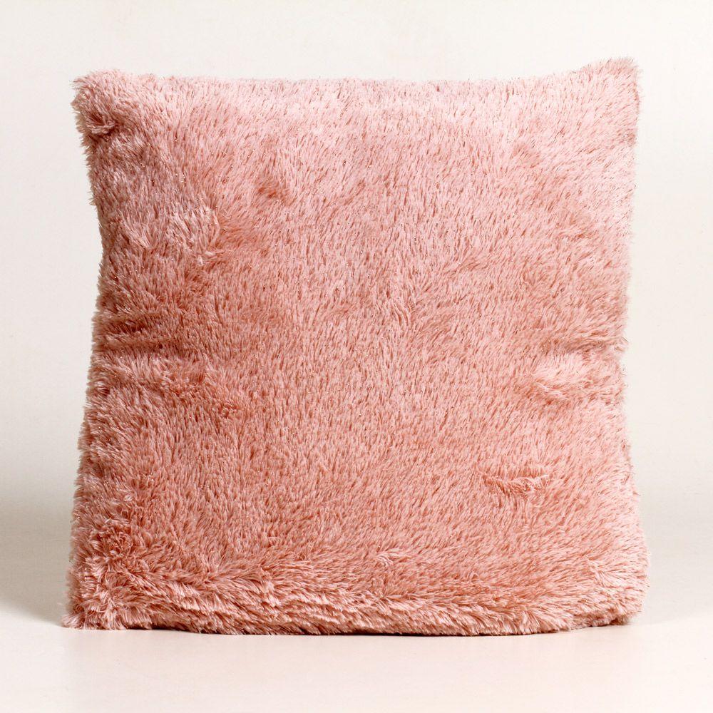 Almofada Quadrada de Poliéster com Capa Rosa 40 Cm
