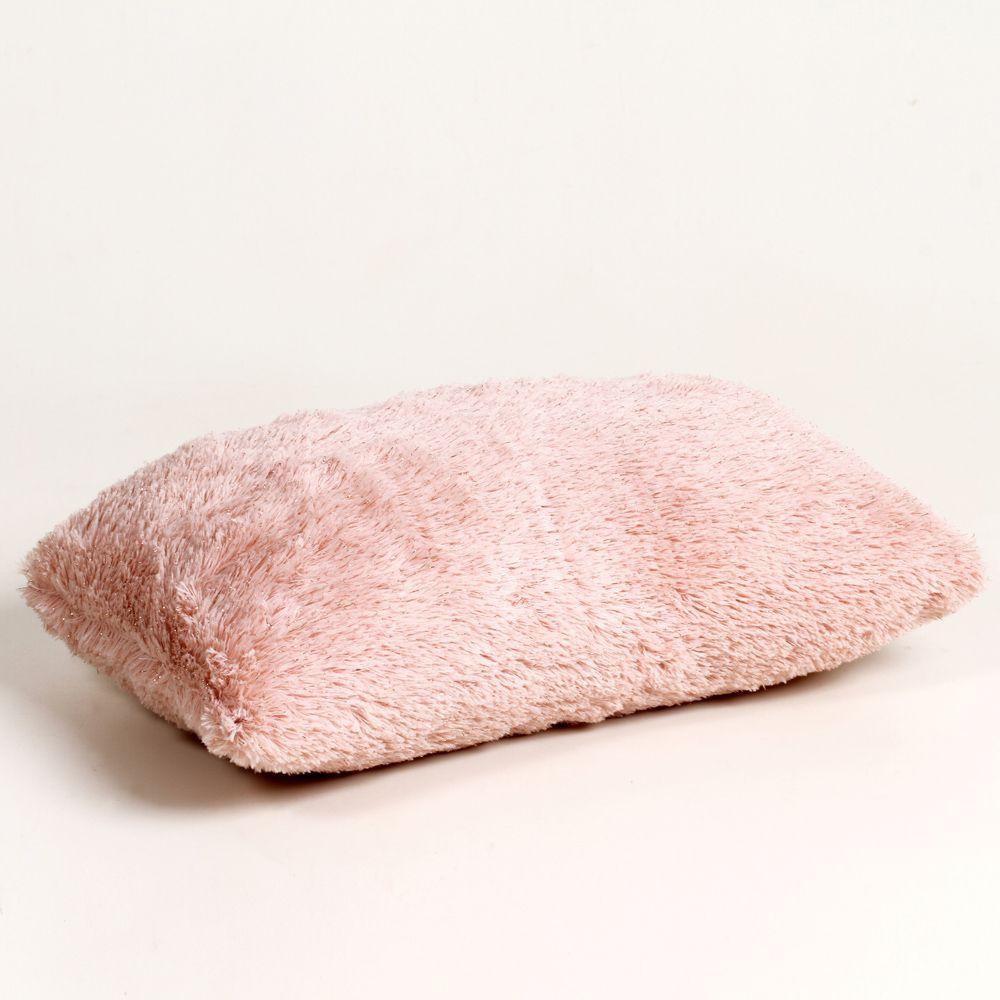 Almofada Retangular De Poliéster Com Capa Rosa 42 Cm