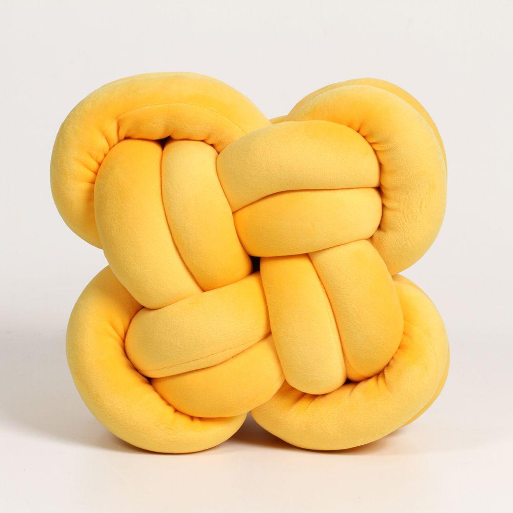 Almofada Quadrada Nó Macia de Algodão Amarelo P 26 Cm