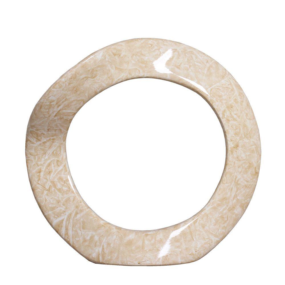 Enfeite de Mesa Anel G Bege Cerâmica Marmorizada Petra