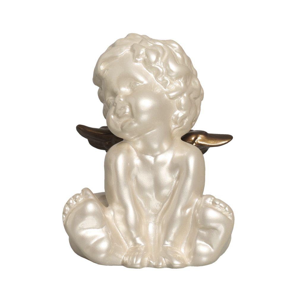 Enfeite De Mesa Anjo 1 Decoração Cerâmica Fendi E Capuccino
