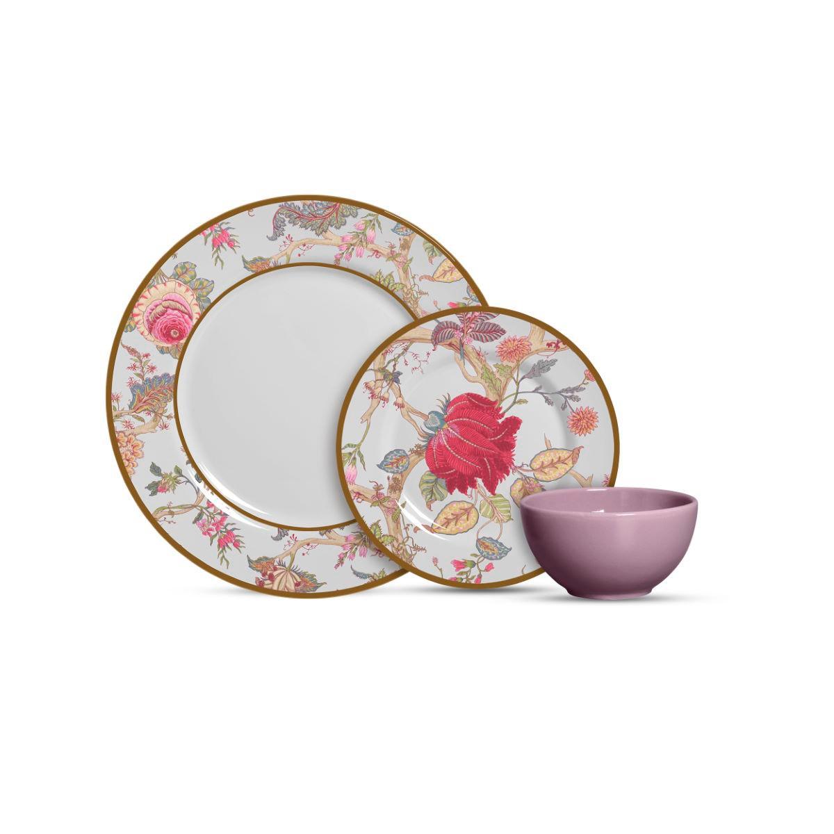 Aparelho De Jantar Cerâmica China Flowers Branca 12 Pç