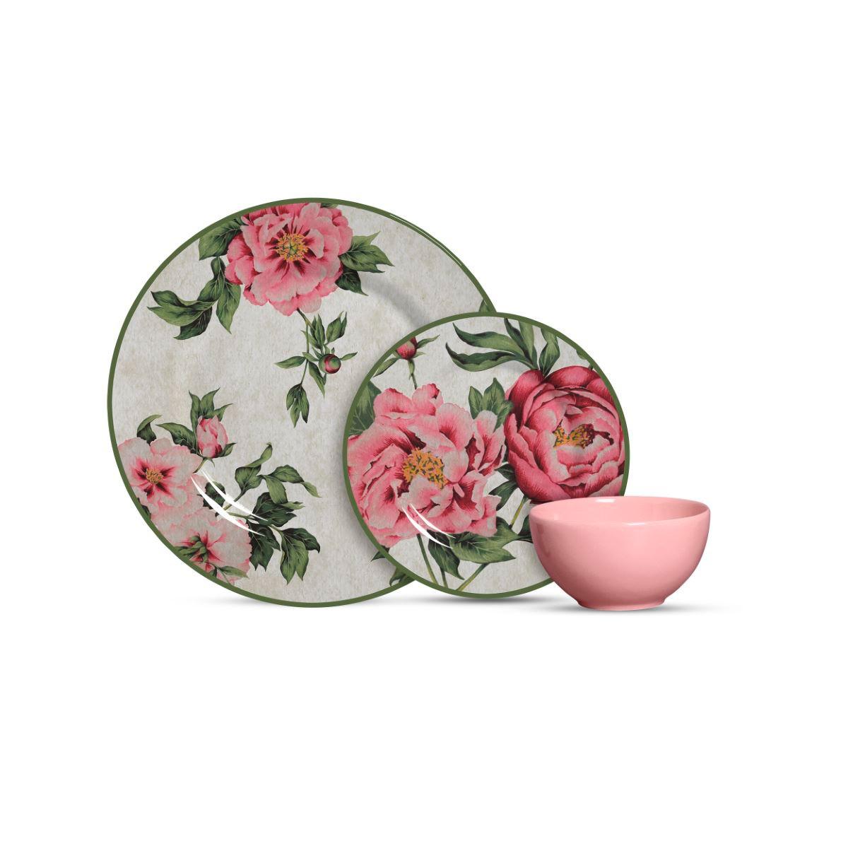 Aparelho De Jantar Cerâmica Peonia 12 Pç