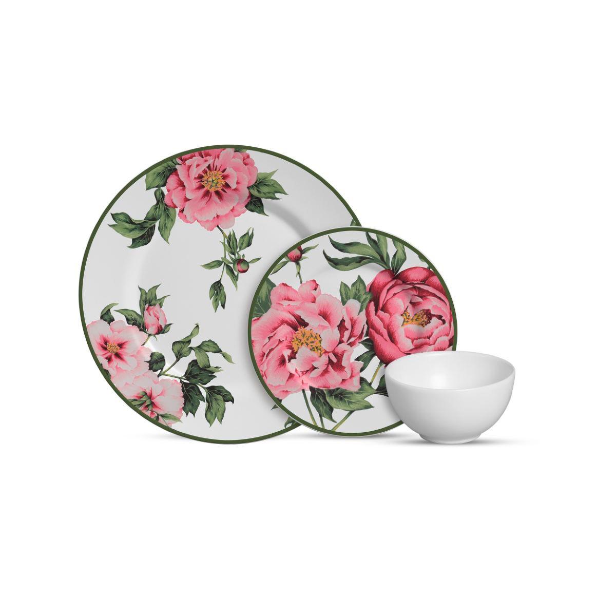 Aparelho De Jantar Cerâmica Peony Rose 12 Pç