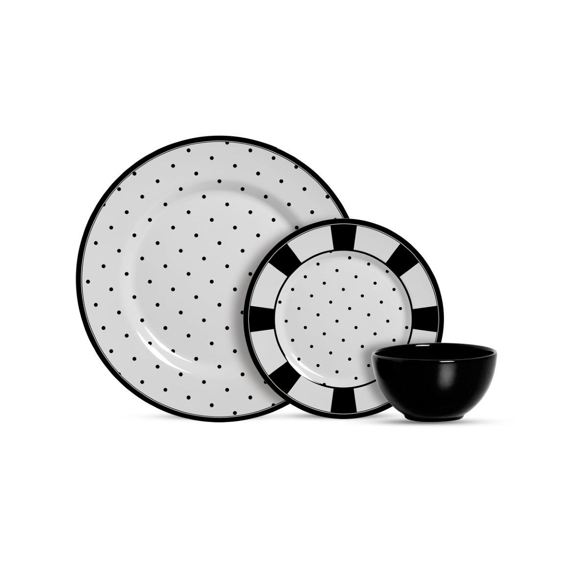 Aparelho De Jantar Cerâmica Petit Pois 12 Pç