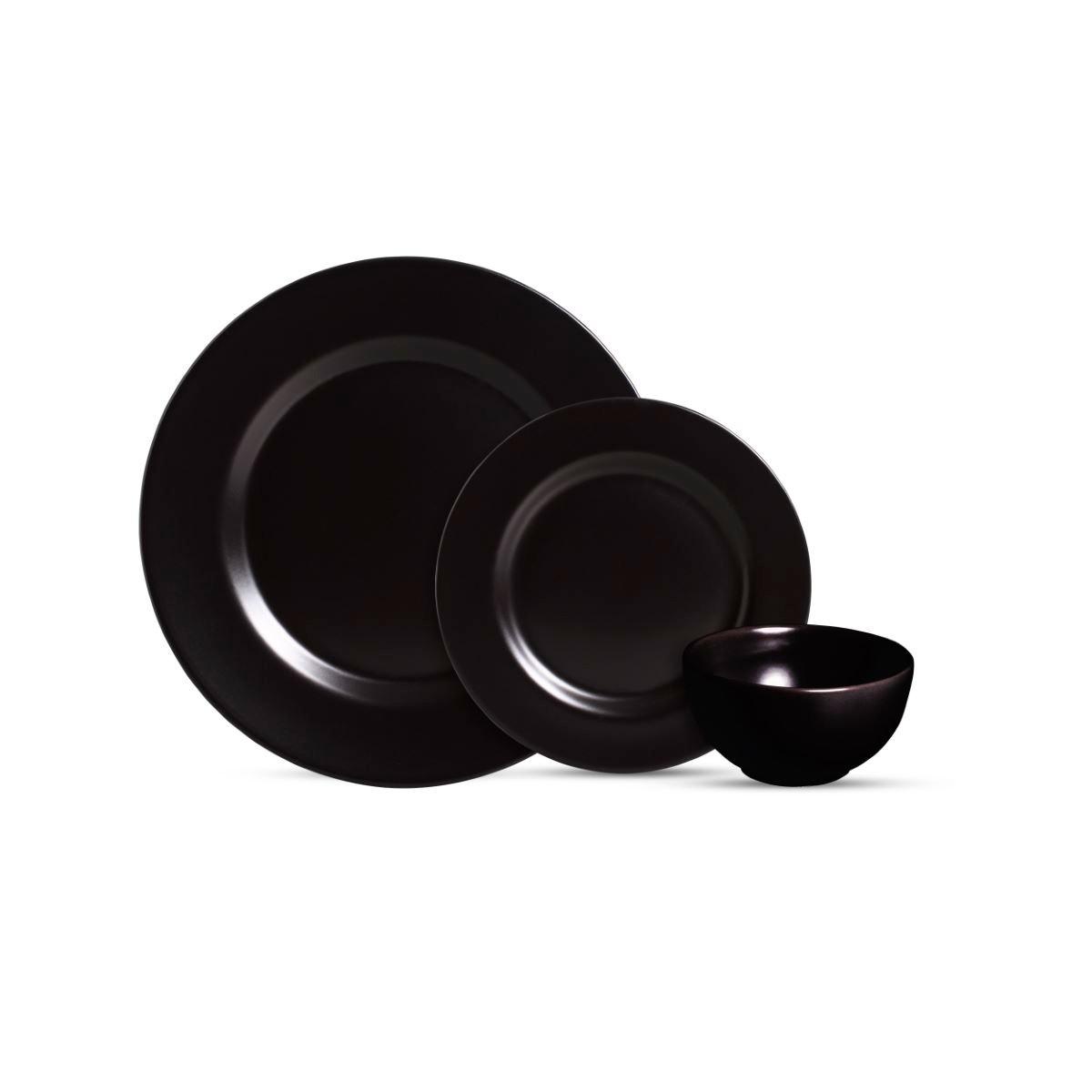 Aparelho De Jantar Cerâmica Preto Acetinado 12 Pç