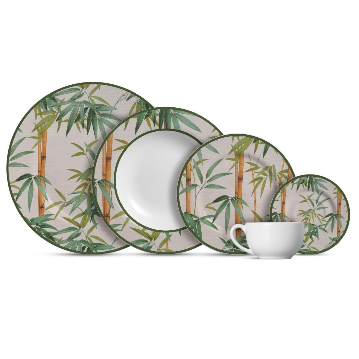 Aparelho De Jantar Cerâmica Bambu 20 Pç
