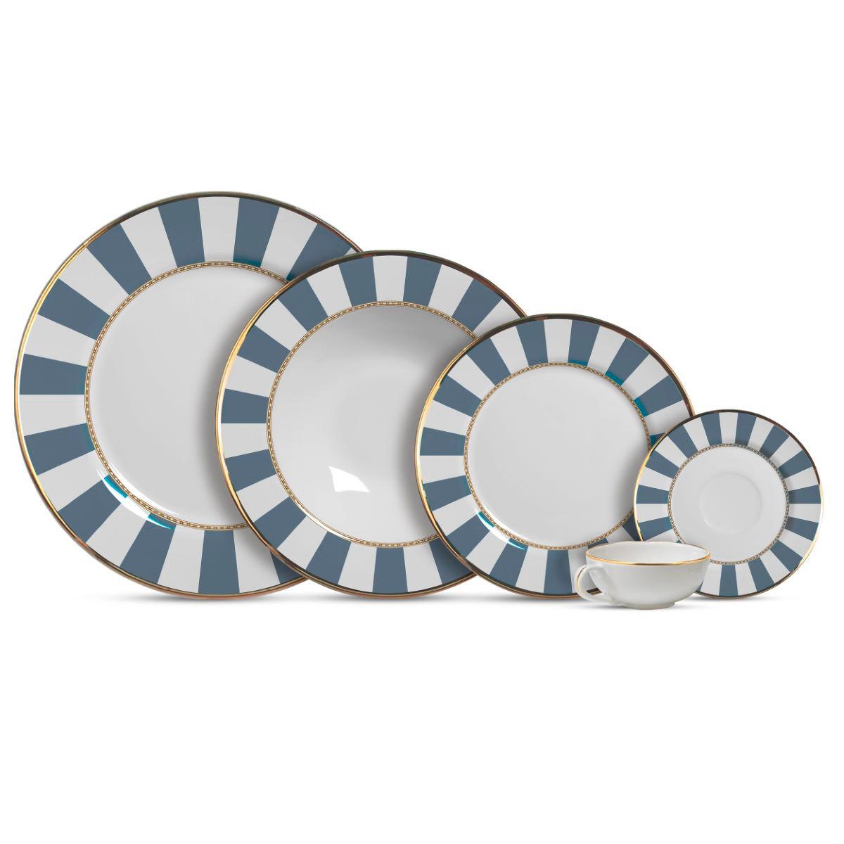 Aparelho De Jantar Cerâmica Blue Strip 20 Pç