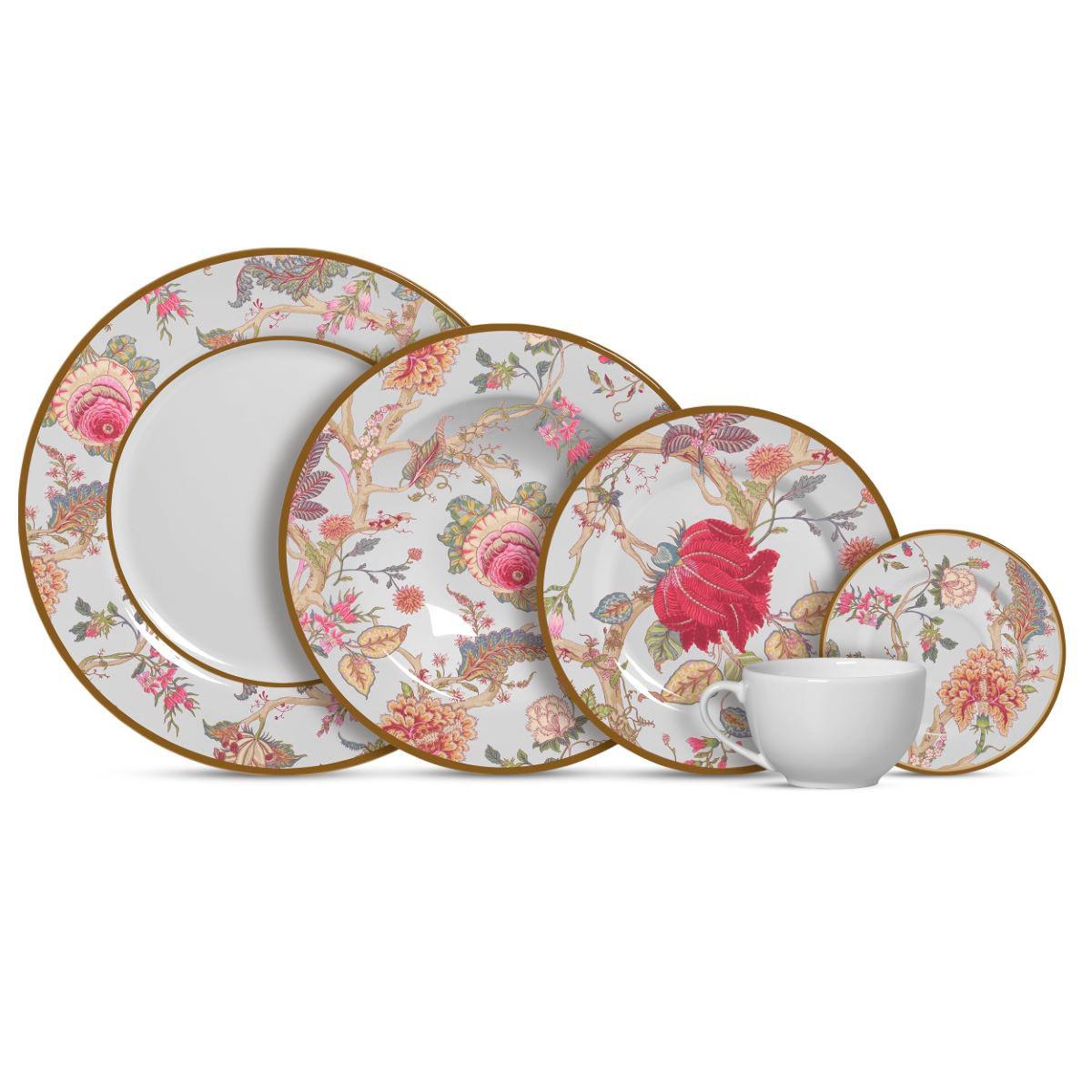 Aparelho de Jantar Cerâmica China Flowers Branca 20 Pç