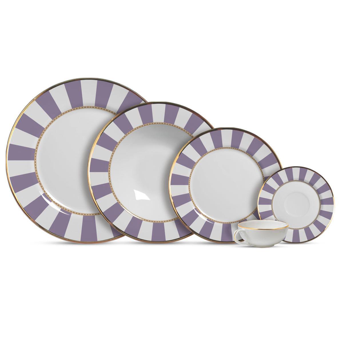 Aparelho De Jantar Cerâmica Lavender Strip 20 Pç