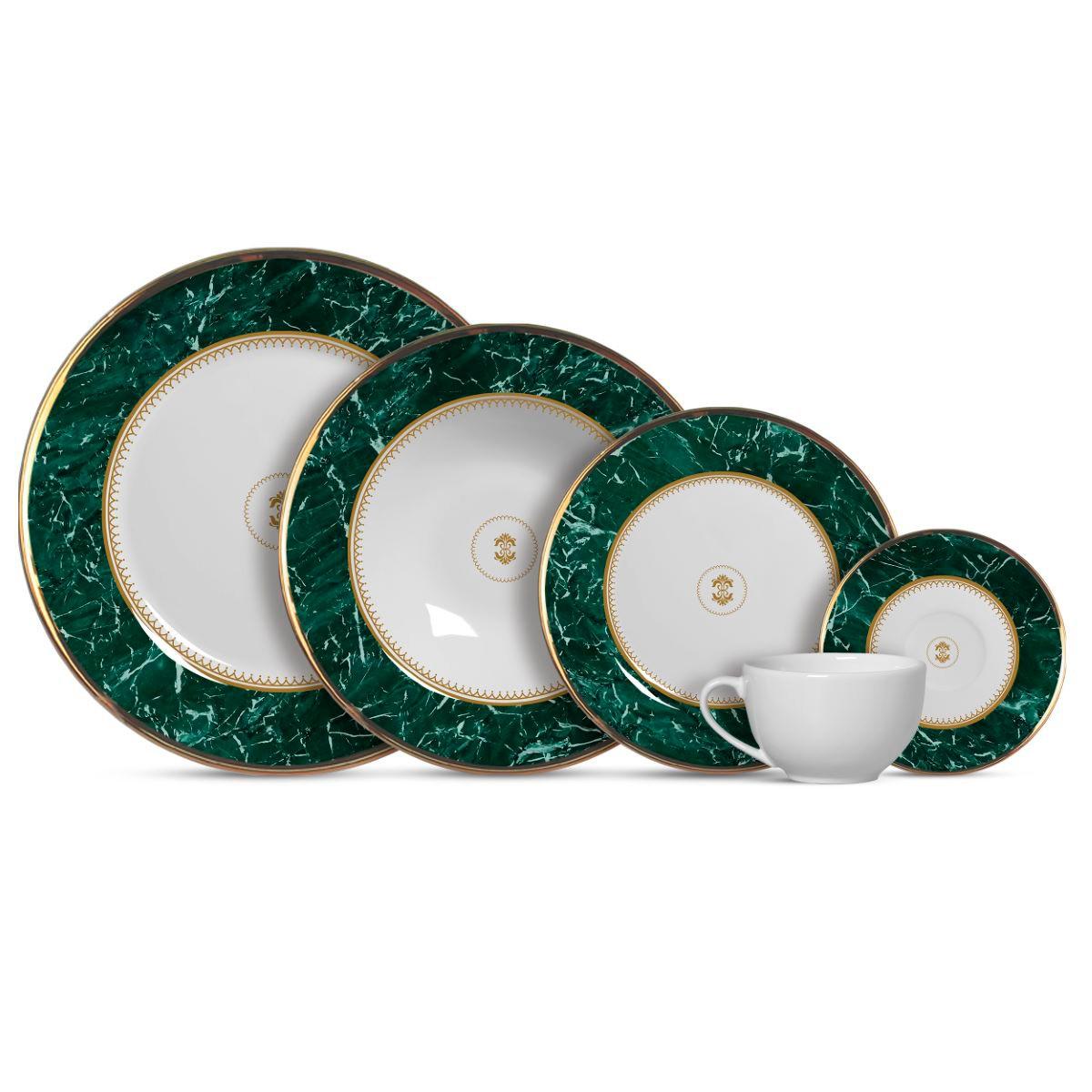 Aparelho De Jantar Cerâmica Marble Verde - 20 Pç