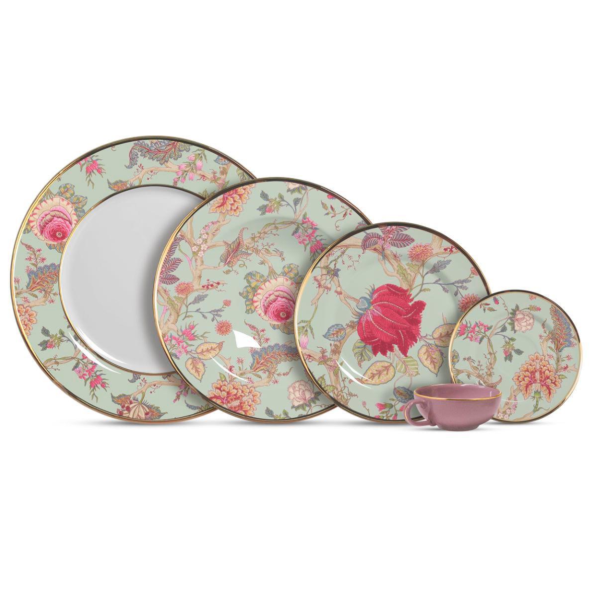 Aparelho De Jantar Cerâmica Neomint Flowers 20 Pç
