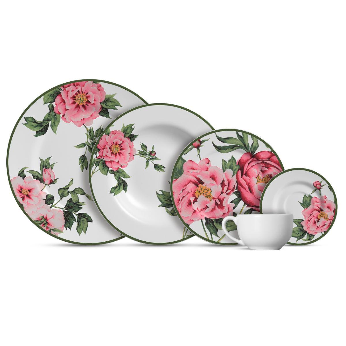 Aparelho de Jantar Cerâmica Peony Rose 20 Pç