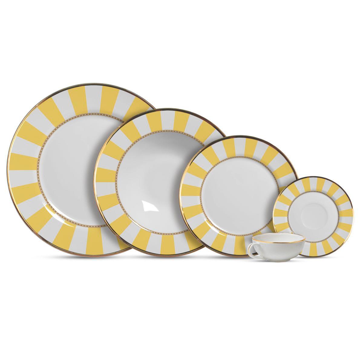 Aparelho de Jantar Cerâmica Yellow Strip 20 Pç