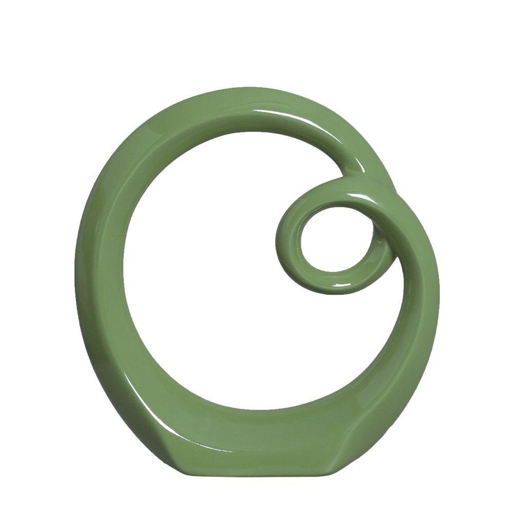 Escultura Arco P Decorativo em Cerâmica Verde Brilhante