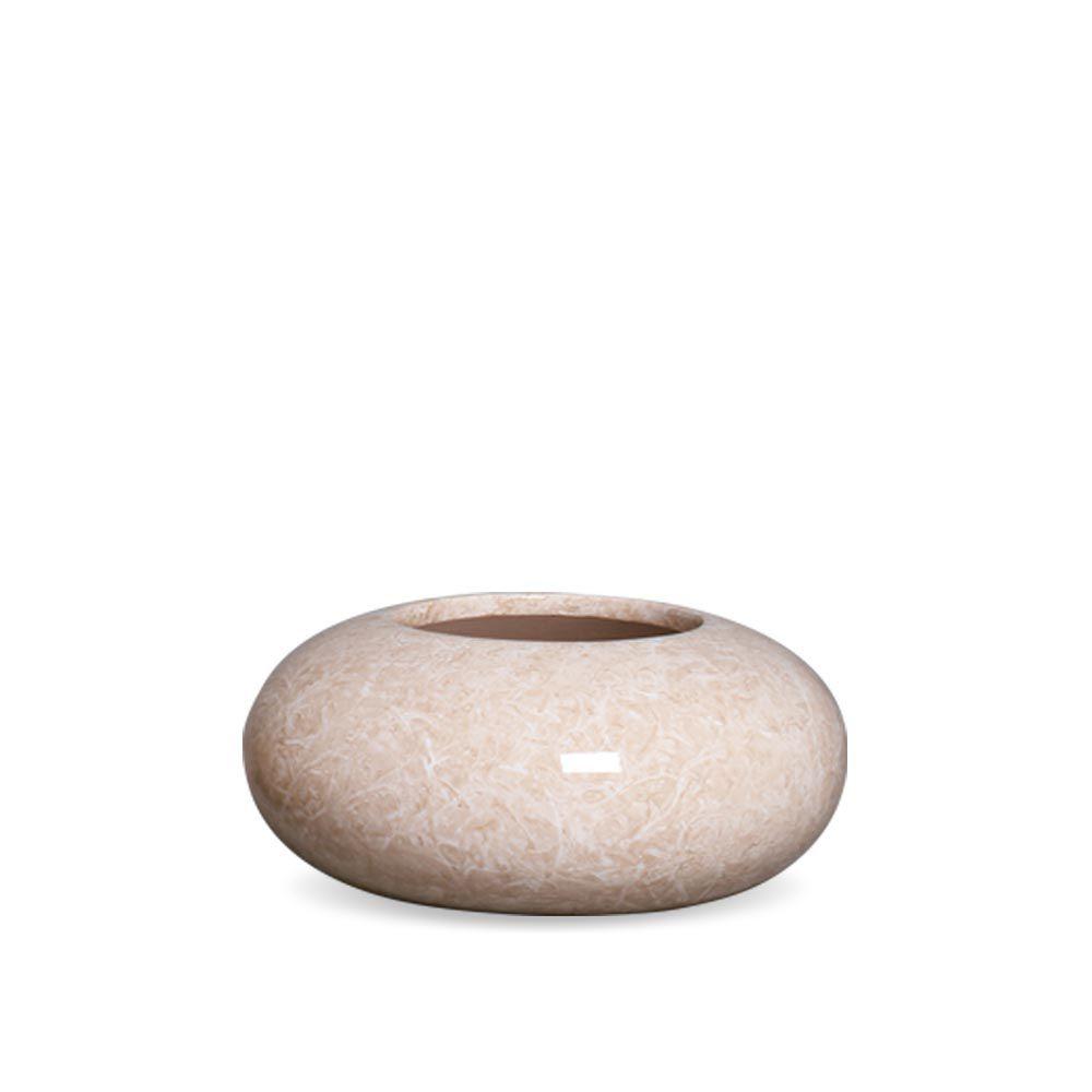 Cachepot Redondo M Decoração Em Cerâmica Bege Marmorizado Petra