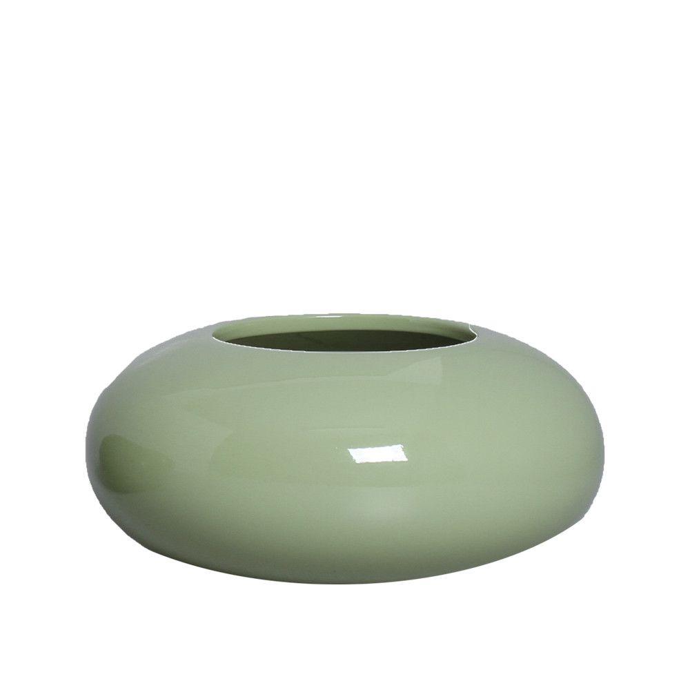 Cachepot Redondo Vaso Decorativo M Decoração Em Cerâmica Verde