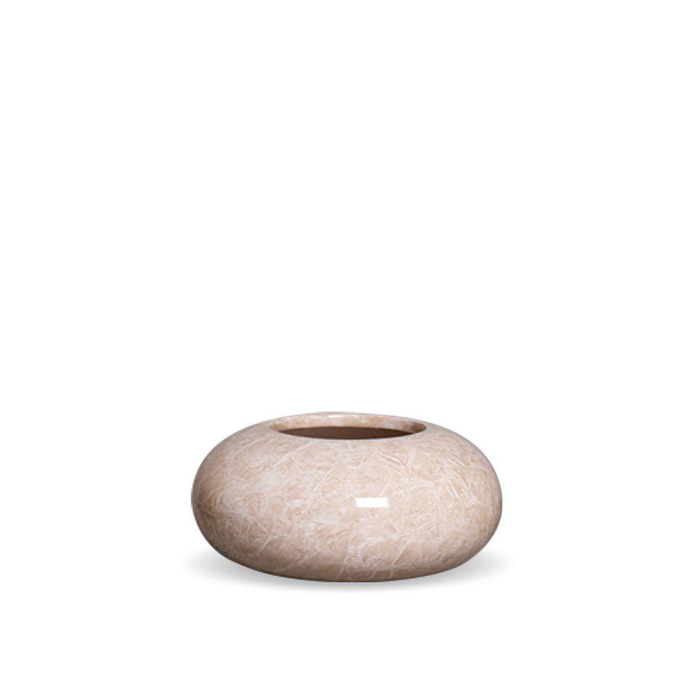 Cachepot Redondo P Decoração Em Cerâmica Bege Marmorizada Petra