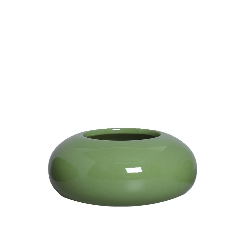 Cachepot Redondo Vaso Decorativo P Decoração Em Cerâmica Verde