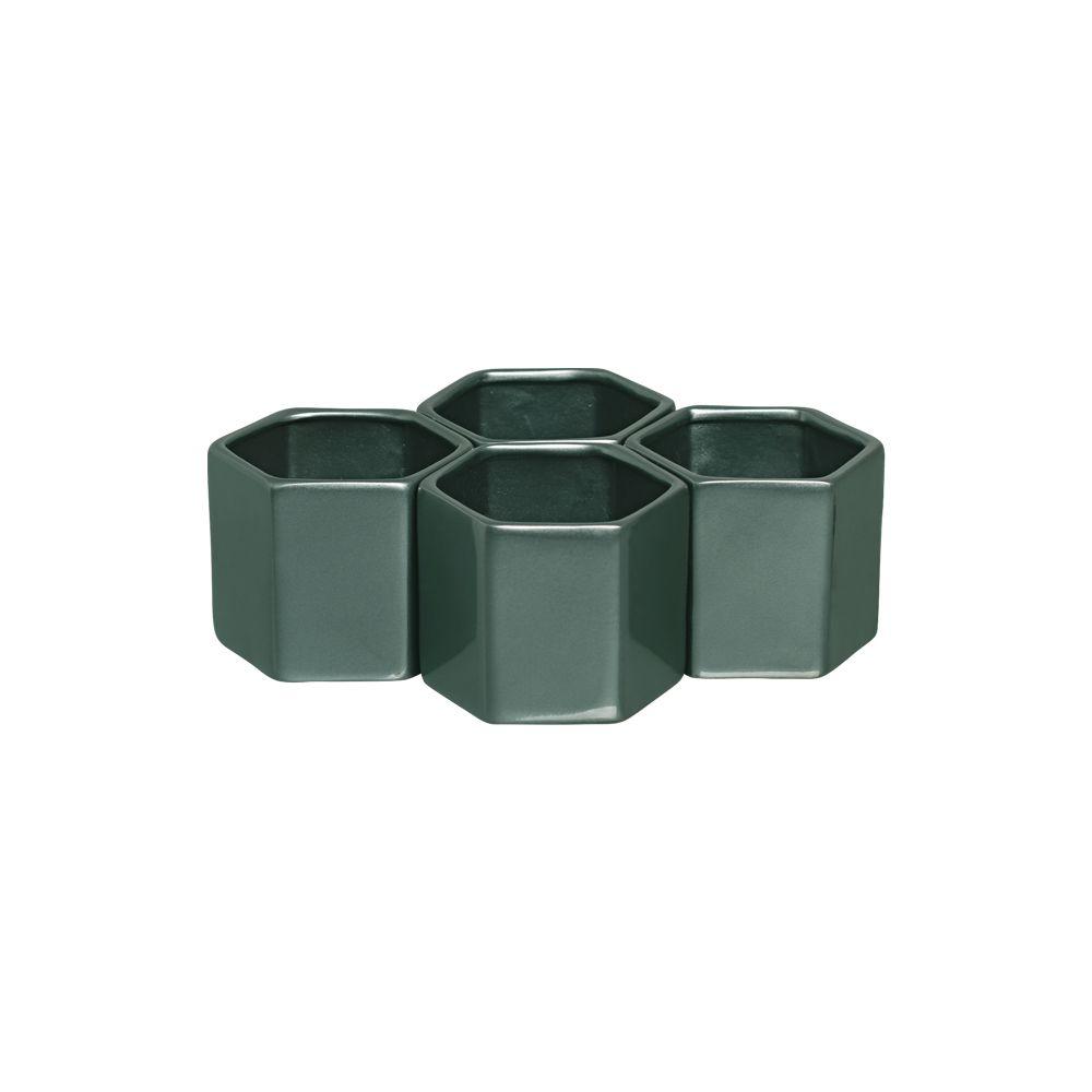 Kit Vaso Cachepot Sextavado G Em Cerâmica Verde Perolado
