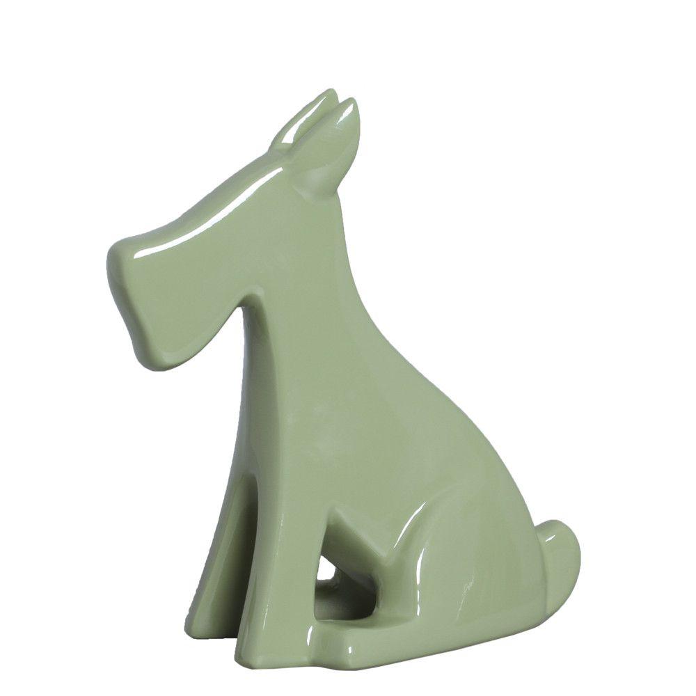 Cachorrinho G Escultura Decoração Pet Cerâmica Linha Verde