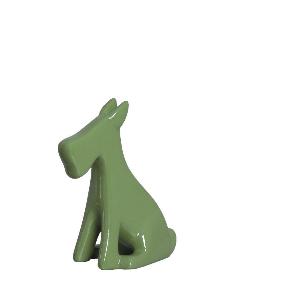 Cachorrinho P Escultura Decoração Em Cerâmica Verde