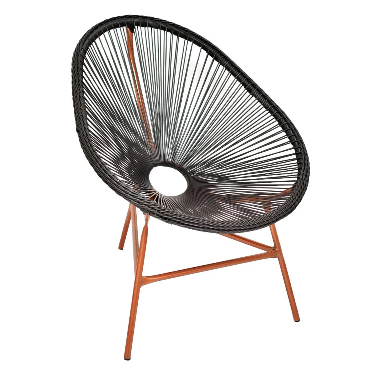 Cadeira Acapulco Marrom Confortável Ferro e Vime Sintético