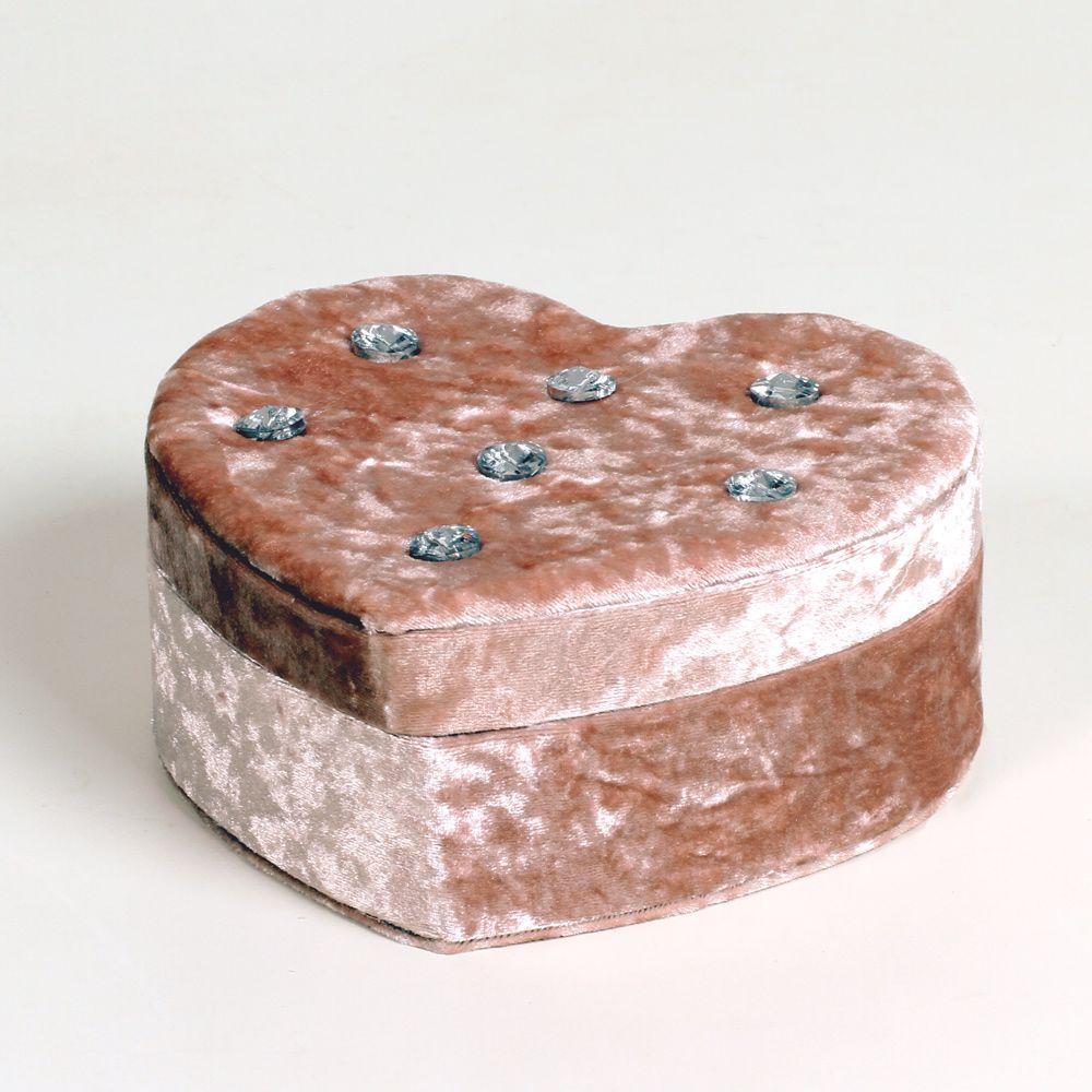 Caixa De Joias Coração Madeira Com Veludo Interior Camurça