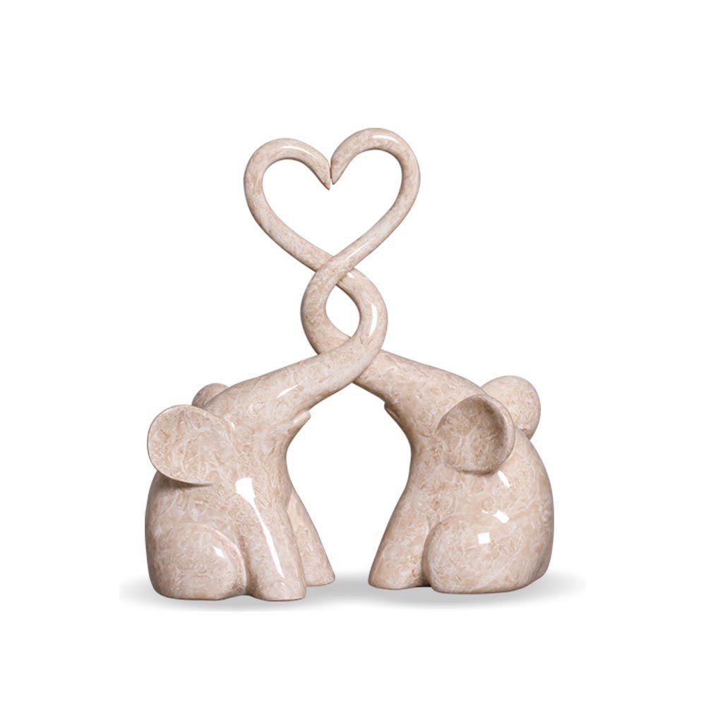 Casal De Elefantes Coração Em Cerâmica Bege Marmorizado Petra