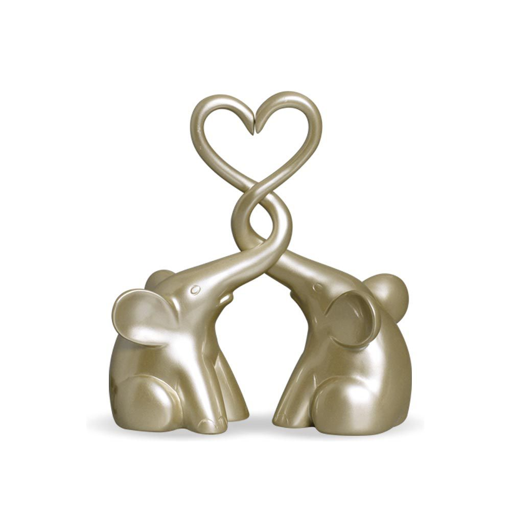 Casal De Elefantes Coração Decoração Em Cerâmica Fendi Chrome