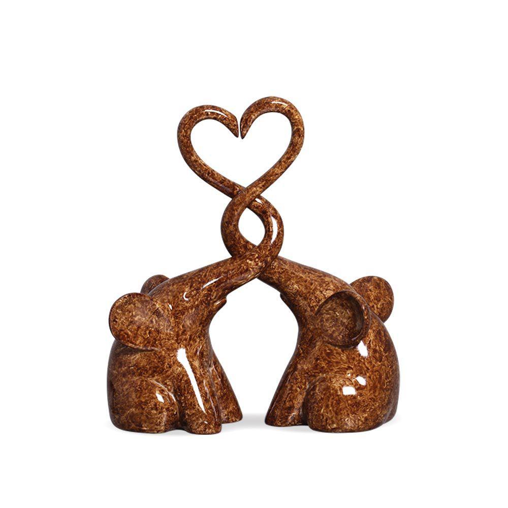 Casal De Elefantes Coração Em Cerâmica Marrom Marmorizado Petra