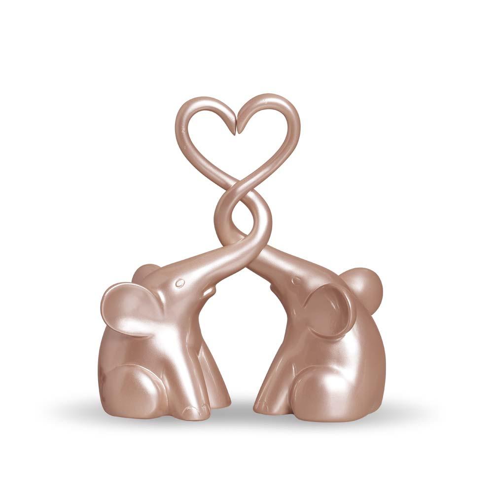 Casal De Elefantes Escultura Coração Decoração Em Cerâmica Rose