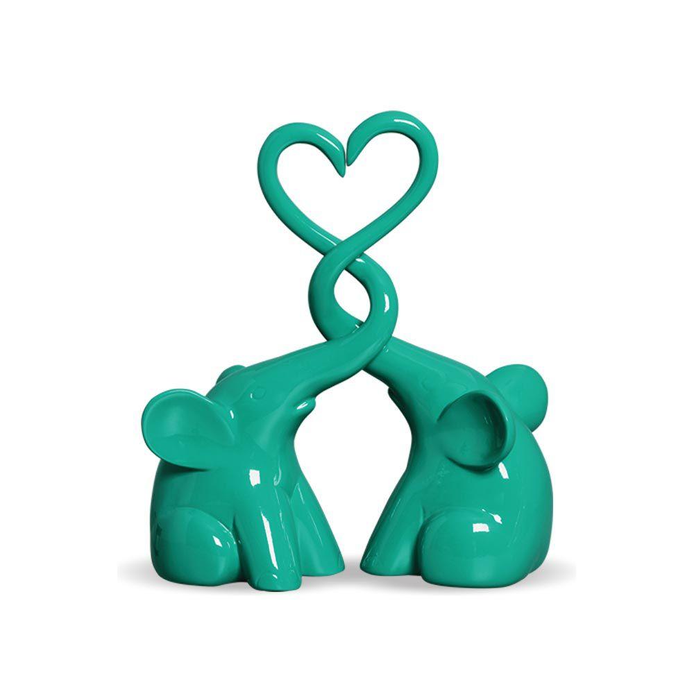 Casal De Elefantes Coração Em Cerâmica Tiffany