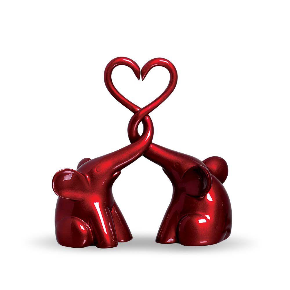 Casal De Elefantes Coração Decoração Em Cerâmica Vinho Scarlet